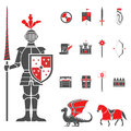 Medieval knights black red icons set Royalty Free Stock Photo