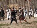 Medieval knights fencing Royalty Free Stock Photography