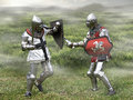Medieval knights sword fighting in misty grasslands Stock Images