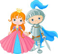 Medieval lady and knight cute Stock Photos