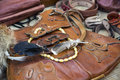 Medieval leather goods purse and other items Royalty Free Stock Photography