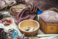 Medieval leather goods purse and other items Royalty Free Stock Images