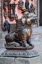 Medieval lion statue at pattan kathmandu valley nepal Stock Photos