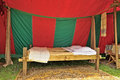 Medieval market celebration in cinquantenaire parc in brussels belgium may reconstruction of a tent where slept the knights times Royalty Free Stock Photos