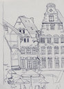 Medieval market square in Bremen with old baroque buildings into