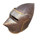 Medieval military helmet old part of armor with rust isolated Stock Photos