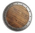Medieval old wooden vikings' shield isolated Royalty Free Stock Photo
