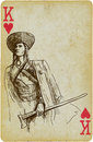 Medieval outlaw playing card with the drawn figure the of the carpathians description drawing consists of at least of two layers a Royalty Free Stock Image