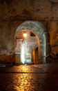 Medieval passage at night illuminated in sighisoara Stock Photography