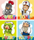 Medieval people card Stock Photos