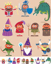 Medieval people set of cartoon characters below are the same characters customized for white background no transparency and Stock Images
