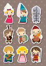 Medieval people stickers Stock Image