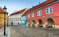 Medieval prague czech republic loretanska street in city capital Royalty Free Stock Photo