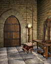 Medieval room with a book candle and old objects Stock Images