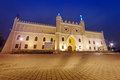 Medieval royal castle in lublin at night poland Stock Photo