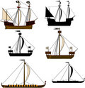 Medieval Sailing Ships Royalty Free Stock Photo