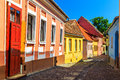 Medieval saxon street view in sighisoara transylvania romania europe stone paved old streets with colorful houses fortress Stock Image