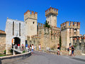 Medieval scaliger castle castello scaligero rocca scaligera sirmione small town shores lake garda lago di garda lombardy italy Royalty Free Stock Photo