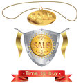 Medieval shield and a medallion with the inscription sale preview ribbon advertising slogans on white background Royalty Free Stock Photos