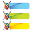 Medieval shield and swords on colored tabs Royalty Free Stock Photo