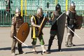 Medieval squad russia moscow march unidentified people in retro costume on history reenactment of the maneuvers in moscow march Stock Images