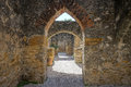 Medieval stone arches at san jose mission texas Royalty Free Stock Photo