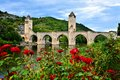 Medieval stone bridge at Cahors, France with red roses Royalty Free Stock Photo