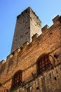 Medieval Stone Tower Town Hall San Gimignano Italy Stock Photo