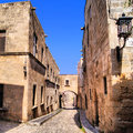 Medieval street of the knights old town of rhodes greece Royalty Free Stock Photography