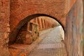 Medieval street in medieval town and wall hermannstadt Stock Photo