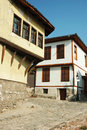 Medieval street of old city center in Plovdiv Royalty Free Stock Images