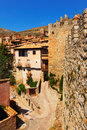 Medieval street with old fortress wall in albarracin aragon spain Royalty Free Stock Images