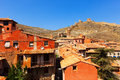 Medieval street with old fortress wall in albarracin spain Stock Photos