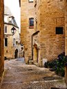 Medieval street in the old town of Sarlat, Dordogne, France Royalty Free Stock Photo