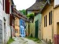 Medieval street in Sighisoara. Stock Image