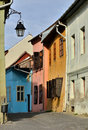 Medieval street view in Sighisoara, Romania Stock Images