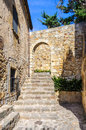 Medieval streets in pals spain the village of catalonia Stock Image