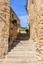 Medieval streets in pals spain the village of catalonia Stock Photos