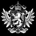 Medieval style heraldic rampant lion crest Royalty Free Stock Image