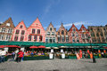 Medieval style house around Bruges market square Royalty Free Stock Photography