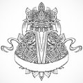Medieval sword, roses, leaves and ribbon banner. Vintage floral highly detailed hand drawn illustration. Royalty Free Stock Photo