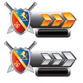 Medieval swords and shield on arrow nameplates Stock Photo