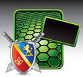 Medieval swords and shield on green hexagon ad Royalty Free Stock Photography