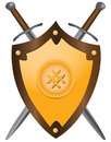 Medieval swords with shield a set of double edged vector illustration Royalty Free Stock Image