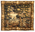 Medieval tapestry fabric pattern Royalty Free Stock Photo