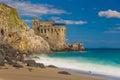 Medieval tower on the coast of Maiori town, Amalfi coast, Campania region, Italy Royalty Free Stock Photo