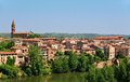 Medieval town of albi and tarn river righ bank the old france Stock Photo