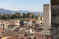 The medieval town of bergamo view from civic tower campanone Stock Photo