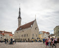 Medieval Town Hall and Town Hall Square of Tallinn, Estonia Royalty Free Stock Photo