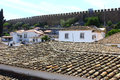 The medieval town of obidos at portugal view over Royalty Free Stock Photography